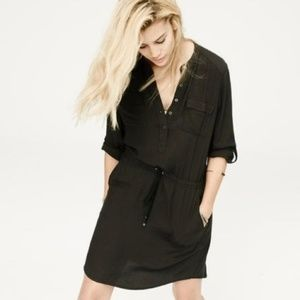 Lou & Grey black drawstring shirt dress